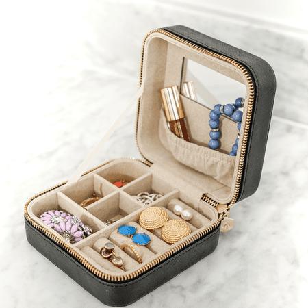 Travel Jewelry Case - Macy Black Travel Jewelry Case