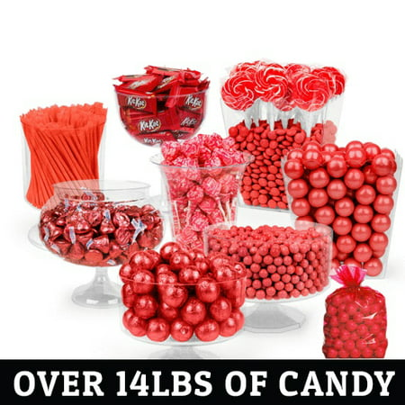 Red Candy Buffet -  (Approx 14lbs) Includes Hershey's Kisses, Kit Kats, Sixlets, Gumballs, Dum Dum Lollipops & More (Buffet Candy)