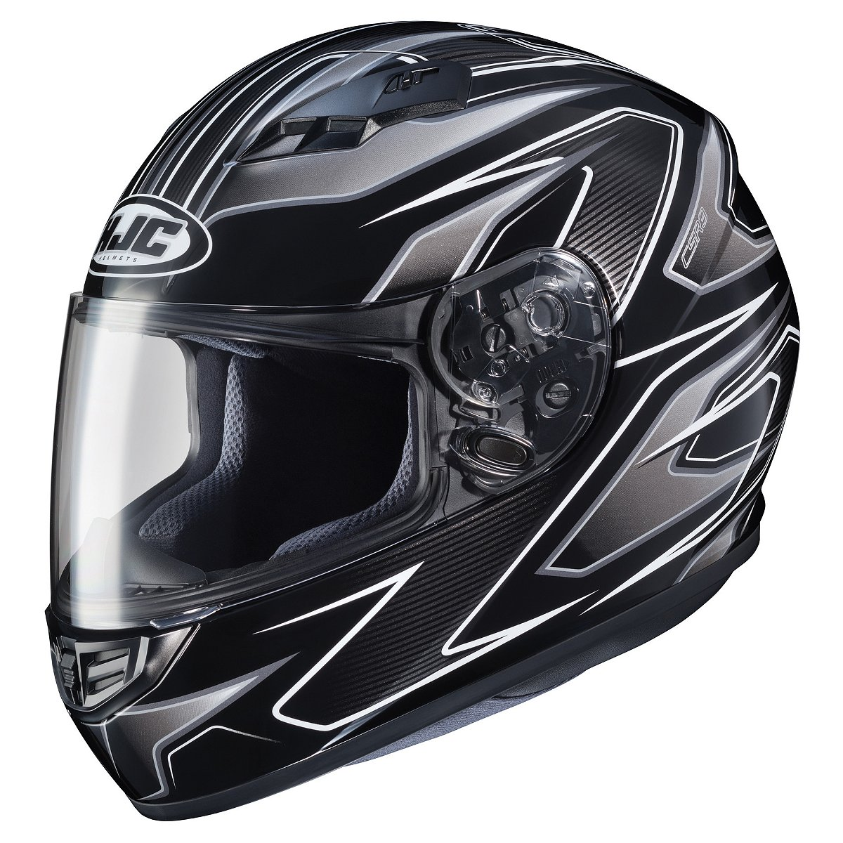 HJC CS-R3 Spike Motorcycle Helmet  Black/White/Silver