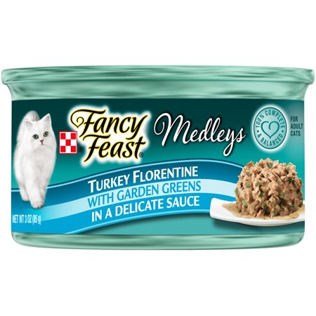 (Purina Fancy Feast Medleys Turkey Florentine Wet Cat Food, 3.0 Oz. Cans (24 Pack))