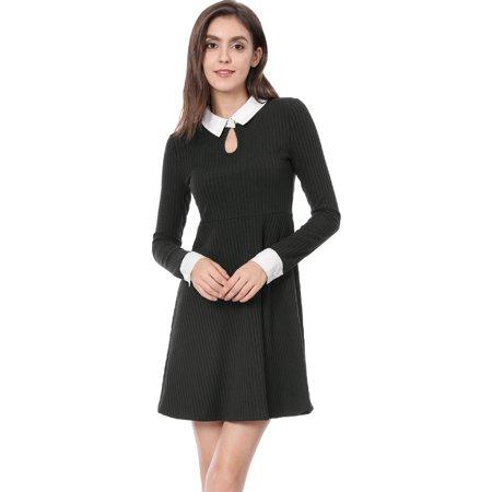 Unique Bargains Women Dress Contrast Collar Keyhole Flare Dress