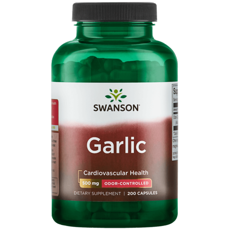 Swanson Odor-Controlled Garlic 500 mg 200 Caps (Best Quality Garlic Supplements)