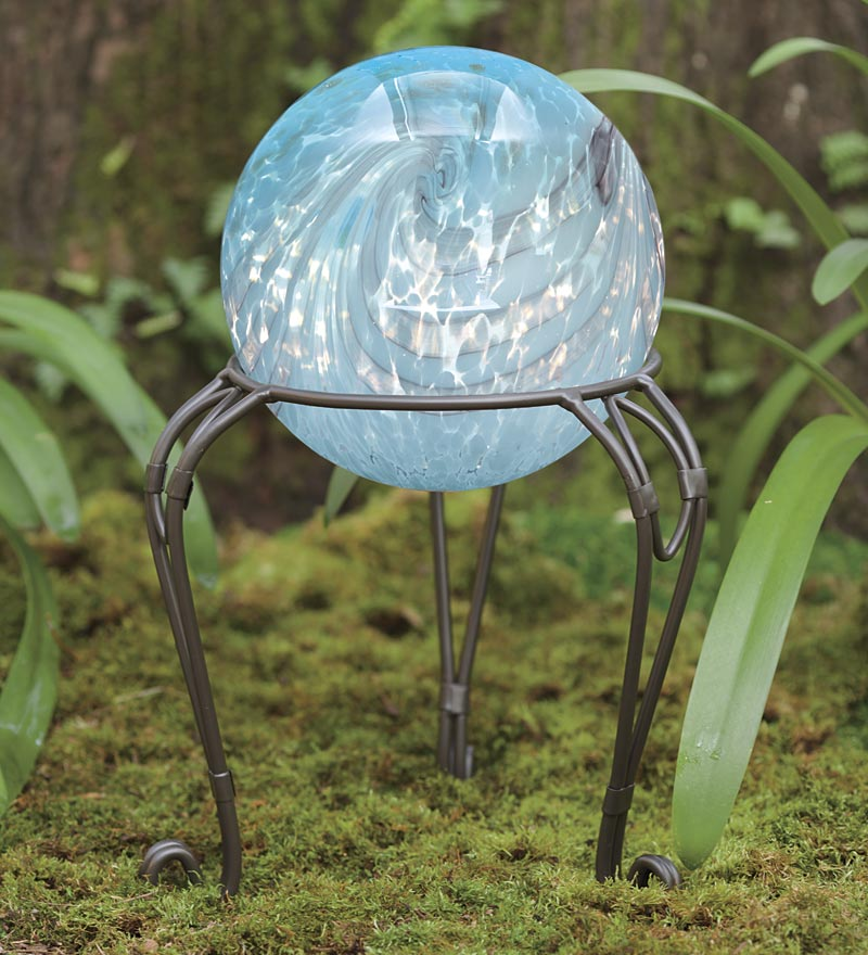 Pearly Glass Gazing Ball with Metal Stand by Problem Solvers