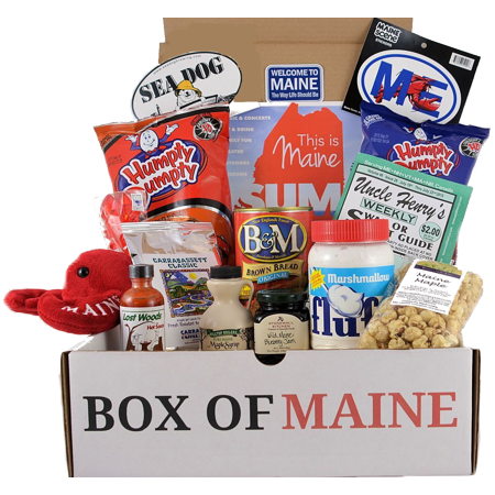Maine Blueberry Syrup - Box of Maine Gifts - 10-item Gift Pack - Whoopie Pie, Fluff, Moxie Soda, Maine Maple Syrup, Blueberry Honey, Humpty Dumpty BBQ Chips, Needhams Chocolate, Coffee, Maine Blueberry Jam