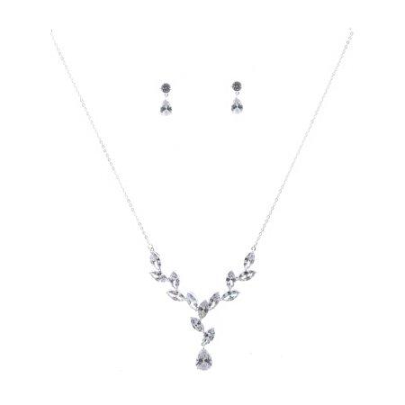 Wedding Jewelry Set Silver Plating Cubic Zirconia Flower Necklace Earrings Set](Wedding Jewerly)