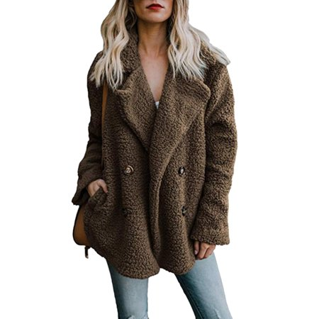 Womens Button Fluffy Jacket Cardigans Ladies Warm Jumper Fleece Faux Fur Coat Hoodie - Faux Fur Coat