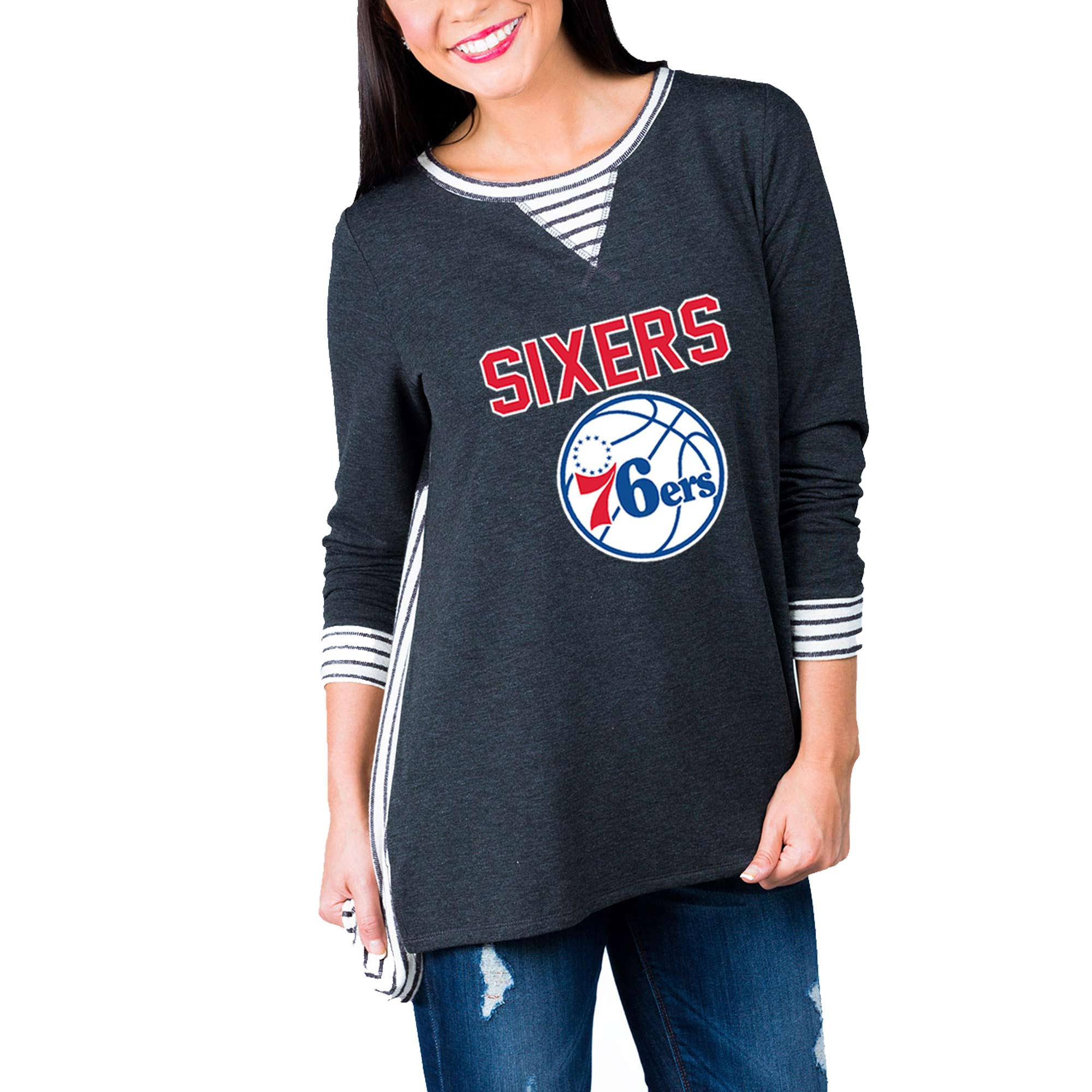 Philadelphia 76ers Women's Striped Panel Oversized Long Sleeve Tri-Blend Tunic Shirt - Charcoal