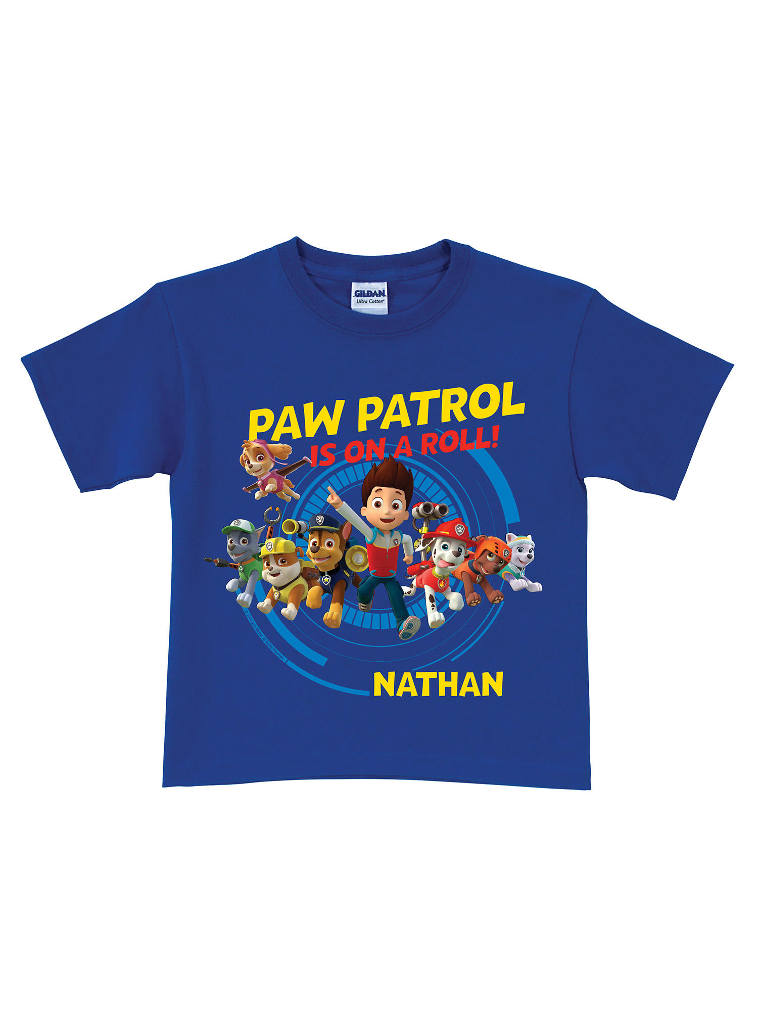 Personalized PAW Patrol Blue Toddler Boys' T-Shirt, 2T, 3T, 4T, 5/6T - On a Roll Royal