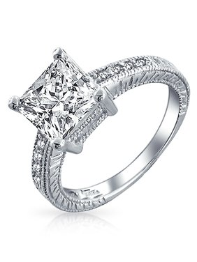 6ee9326cdd Product Image 3 CT Princess Cut Square Solitaire Milgrain Pave Band  Princess Cut AAA CZ Engagement Ring For