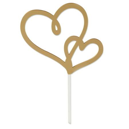 Gold Double Heart Cake Topper - Heart Cake Topper
