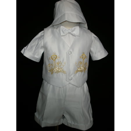 INFANT BOY & TPDDLER CHRISTENING BAPTISM VEST SHORTS SUITGOLD NEW BORN - Baptism Or Christening