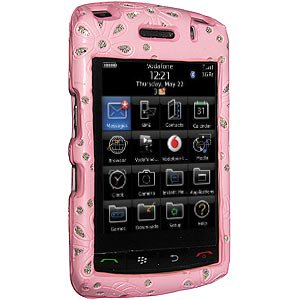 - Premium Faux Leather Bling Snap On Hard Shell Case for BlackBerry Storm 2 9550, BlackBerry Storm 9530 - Pink