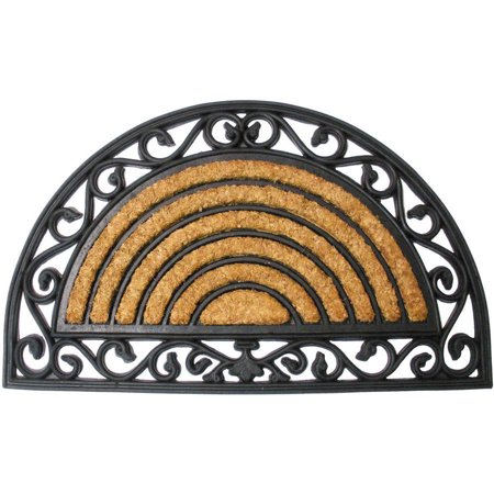 J & M Home Fashions Coir and Rubber Heavy Wrought Iron Arch Doormat 18x30 1/2 Round Arch Top Entry Doors