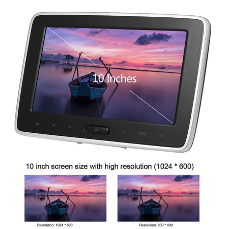 10 Inches Car Headrest DVD Player Auto Monitor 1024 * 600P Touch Button Support Game Disk HD Input AV Input SD Card Slot Headphone Output - image 2 of 7