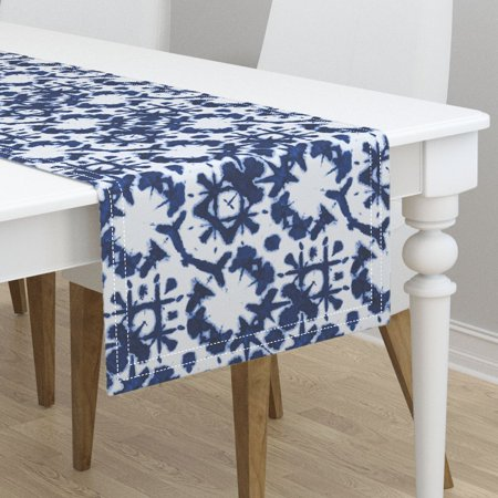 Wondrous Table Runner Batik Shibori Tic Tac Toe Indigo Tie Dye Japanese Cotton Sateen Onthecornerstone Fun Painted Chair Ideas Images Onthecornerstoneorg