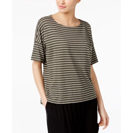 EILEEN FISHER Womens Green Striped Short Sleeve Jewel Neck Top  Size: