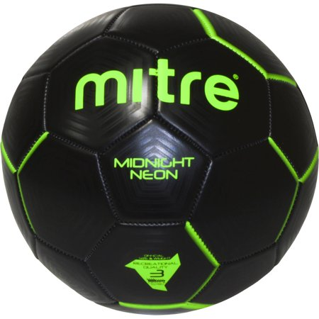 Mitre Black and Green Midnight Neon Green Soccer Ball, Multiple Sizes