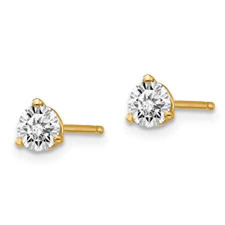 14k Yellow Gold 1/2ctw Vs/si D E F Lab Grown Diamond 3 Prong Post Stud Earrings Fine Jewelry For Women Gifts For Her - image 1 de 6