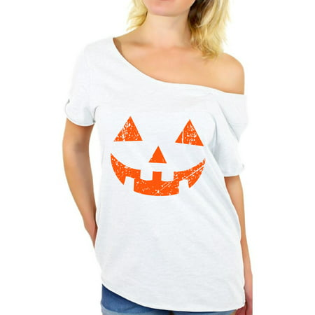 Awkward Styles Jack-O'-Lantern Off Shoulder Shirt Women's Halloween Pumpkin Baggy Tshirt Halloween Shirts for Women Pumpkin Face Oversized Shirt Halloween Party Outfit Cute Holiday Gifts for Her - Draw Halloween Pumpkin Face
