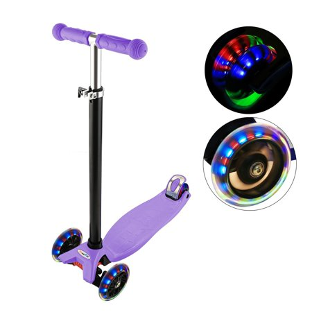 3 Wheel Scooter Lean To Steer Deluxe Flashing Up Adjustable Height Birthday Gift For Boys Girls From 8 Year Old ANGHE