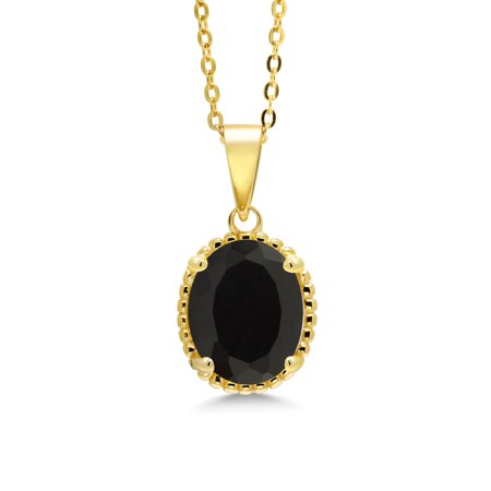 3.00 Ct Oval Black Onyx 18K Yellow Gold Plated Silver Pendant With Chain Black Onyx Gemstone Pendant