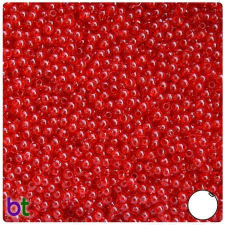 BeadTin Dark Ruby Transparent 3mm Round Plastic Beads (1oz)