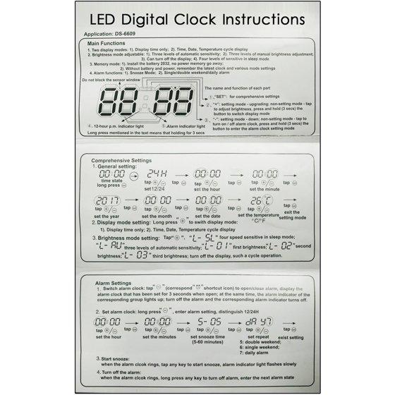 IClover 3D LED Digital Wall Clock Modern Design Table Snooze Alarm Timer  12/24h Display LED Wall Table Desk Clock Light Alarm Snooze Timer USB  Modern