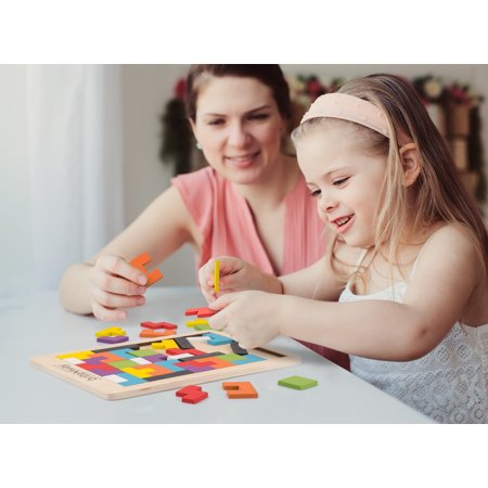 Fun & Educational Wooden Tetris Puzzle Toy For Toddlers & Preschoolers ? Colorful, Safe & Stimulating Wood Block Puzzle Game Set, Promotes Essential Early Development Skills ? Perfect Kids Gift Idea - Fun Halloween Party Ideas For Preschoolers