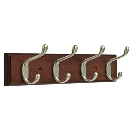 Cat Hook (Franklin Brass 16 in. Rail with 4 Heavy Duty Coat and Hat Hooks in Bark and Satin Nickel)
