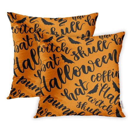 ARHOME Alphabet Happy Halloween Handwritten Lettering The Phrase in Black on White Pillowcase Cushion Cover 16x16 inch, Set of 2 (Alphabet Halloween)