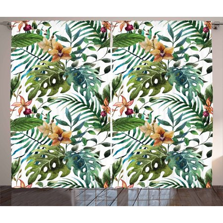 Leaf Curtains 2 Panels Set, Vintage Retro 60s Seem Banana Palm Tree Leaves Flowers Hibiscus, Window Drapes for Living Room Bedroom, 108W X 108L Inches, Pale Caramel Burgundy and Green, by Ambesonne
