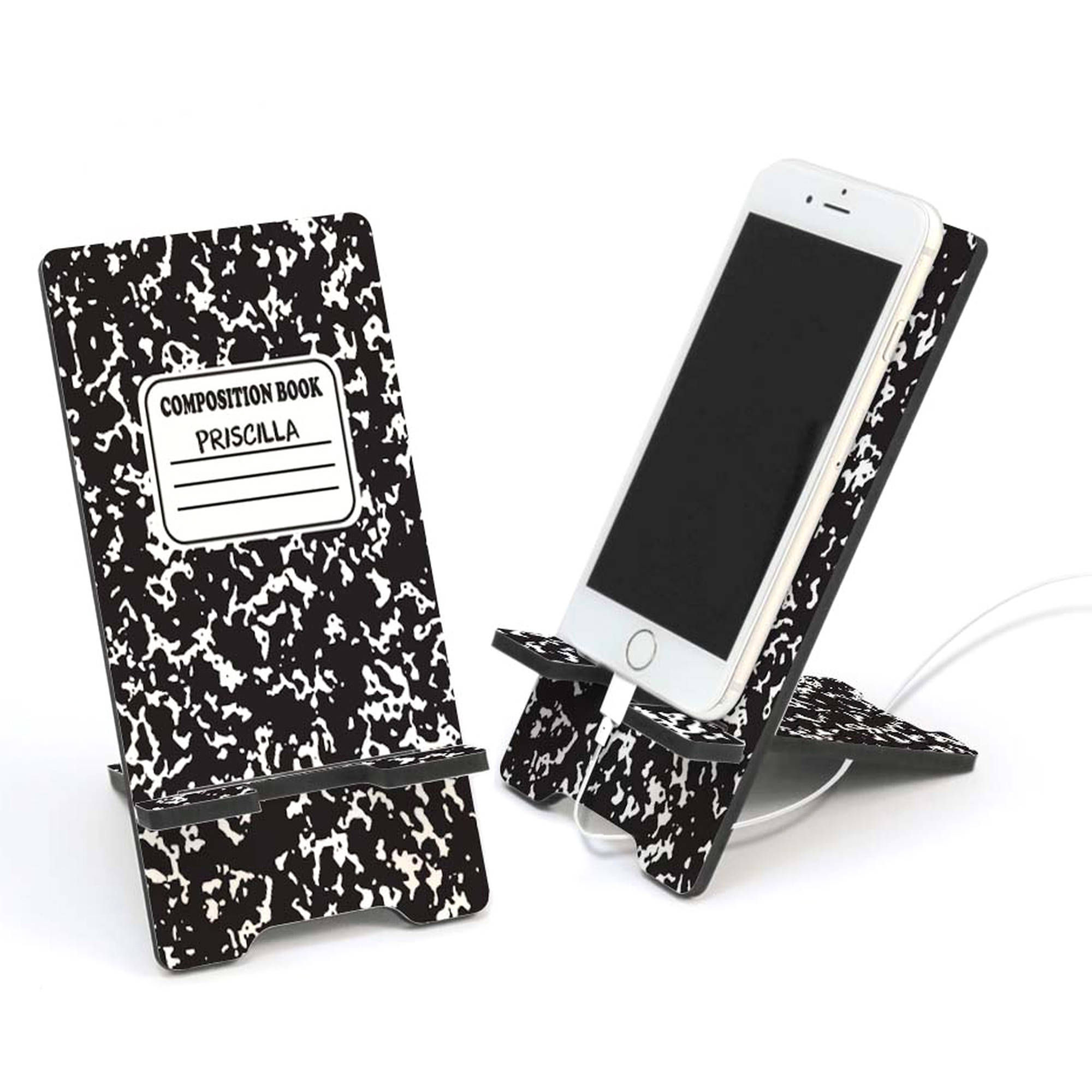 Composition Book Personalized Cell Phone Stand