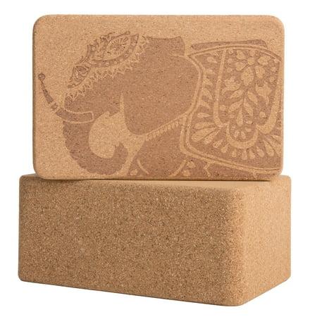 Peace Yoga Set of 2 Cork Wood Yoga Blocks with Premium Designs - - Blocks Of Wood