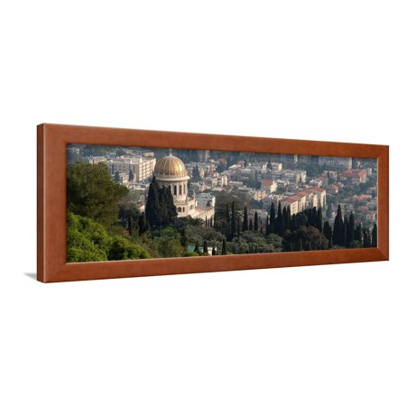 View Terrace - Elevated view of the Terraces of the Shrine of the Bab, Bahai Gardens, German Colony Plaza, Haif... Framed Print Wall Art