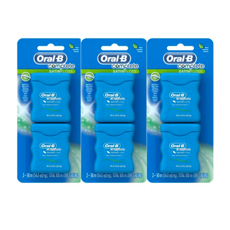 (3 Pack) Oral-B Complete SatinFloss Dental Floss, Mint, 50 M, Pack of 2 ()