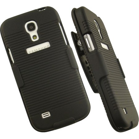 BLACK HARD CASE + BELT CLIP HOLSTER STAND FOR SAMSUNG GALAXY S4 MINI i9190