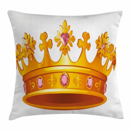 Majestic Square Two Light - Queen Throw Pillow Cushion Cover, Golden Color Crown with Embellishments Majestic Antique Tiara Symbol Nobility, Decorative Square Accent Pillow Case, 18 X 18 Inches, Yellow Light Pink, by Ambesonne