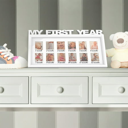 My First Year Collage Baby Picture Frame- Memory Keepsake for Babies with 12 Month Display for One 2x3 Wallet Photo Monthly by Lavish Home