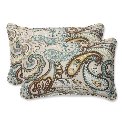 Pillow Perfect Outdoor/ Indoor Tamara Paisley Quartz Rectangular Throw Pillow (Set of 2)