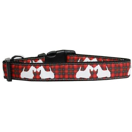 - Red Plaid Scottie Pups Nylon Dog Collar, Large
