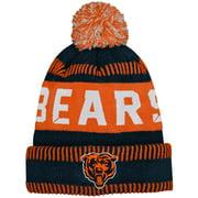 Chicago Bears Youth Sport Tech Cuffed Knit Hat with Pom - Navy/Orange - OSFA
