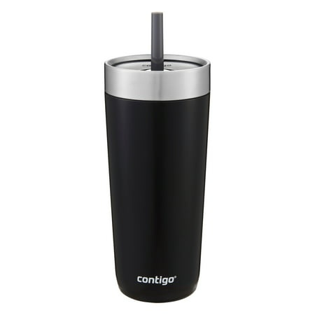 Contigo Luxe Stainless Steel Tumbler with Spill-Proof Lid and Straw | Insulated Travel Tumbler with No-Spill Straw, 18 oz, Licorice - Stainless Steel Tumbler With Straw
