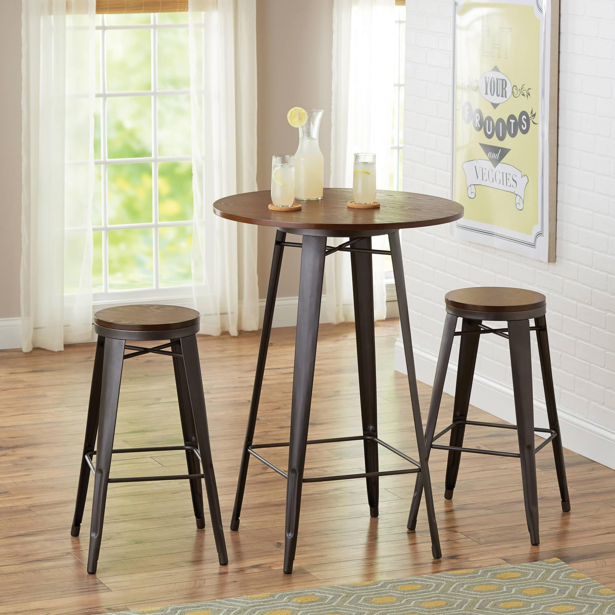 CorLiving Jericho 3-Piece Counter Height Rustic Brown Barstool and Bistro Table Set - Walmart.com & CorLiving Jericho 3-Piece Counter Height Rustic Brown Barstool and ...