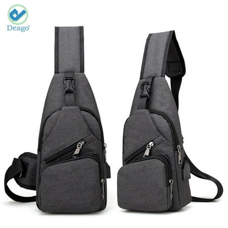 7830a67f99d6 Deago Men Chest Pack Messenger Bags Casual Travel Crossbody Sling bag  Shoulder Bag W/ USB Charging Daypack