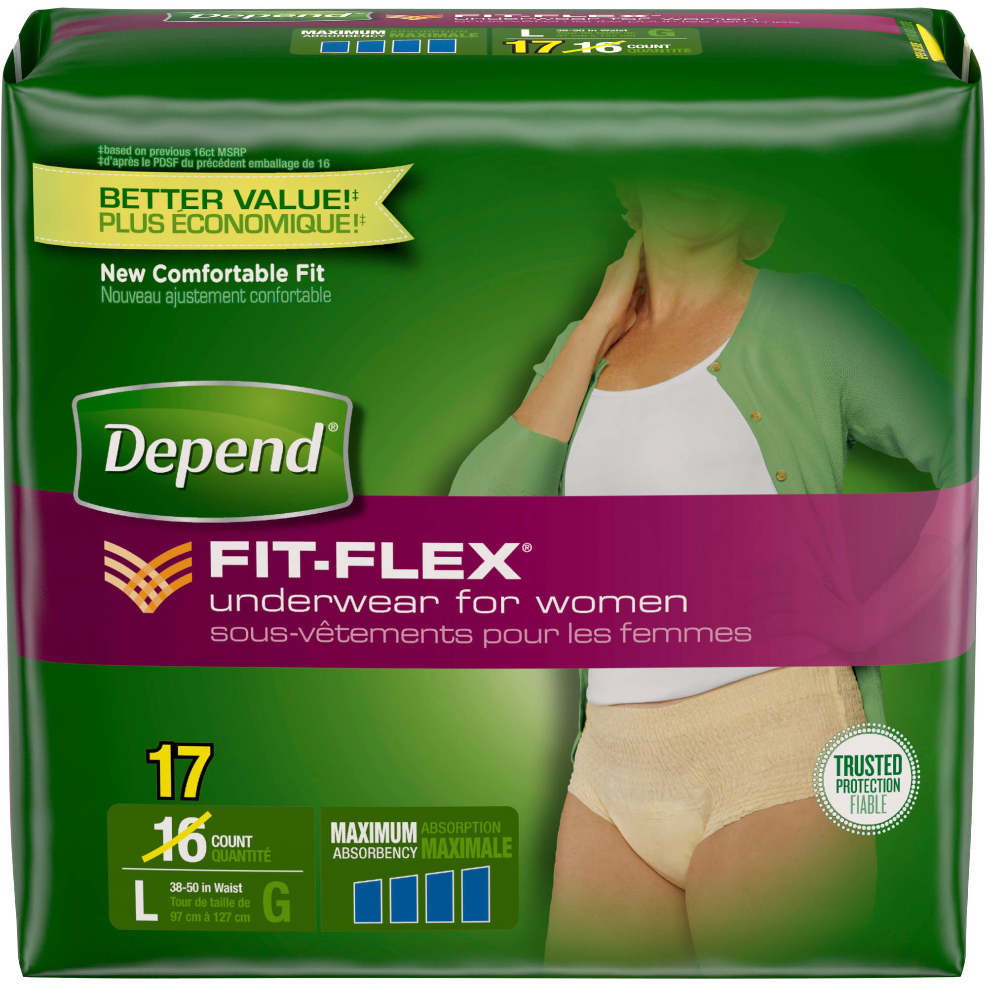Depend FIT-FLEX Maximum Absorbency Underwear for Women, L, 17 count