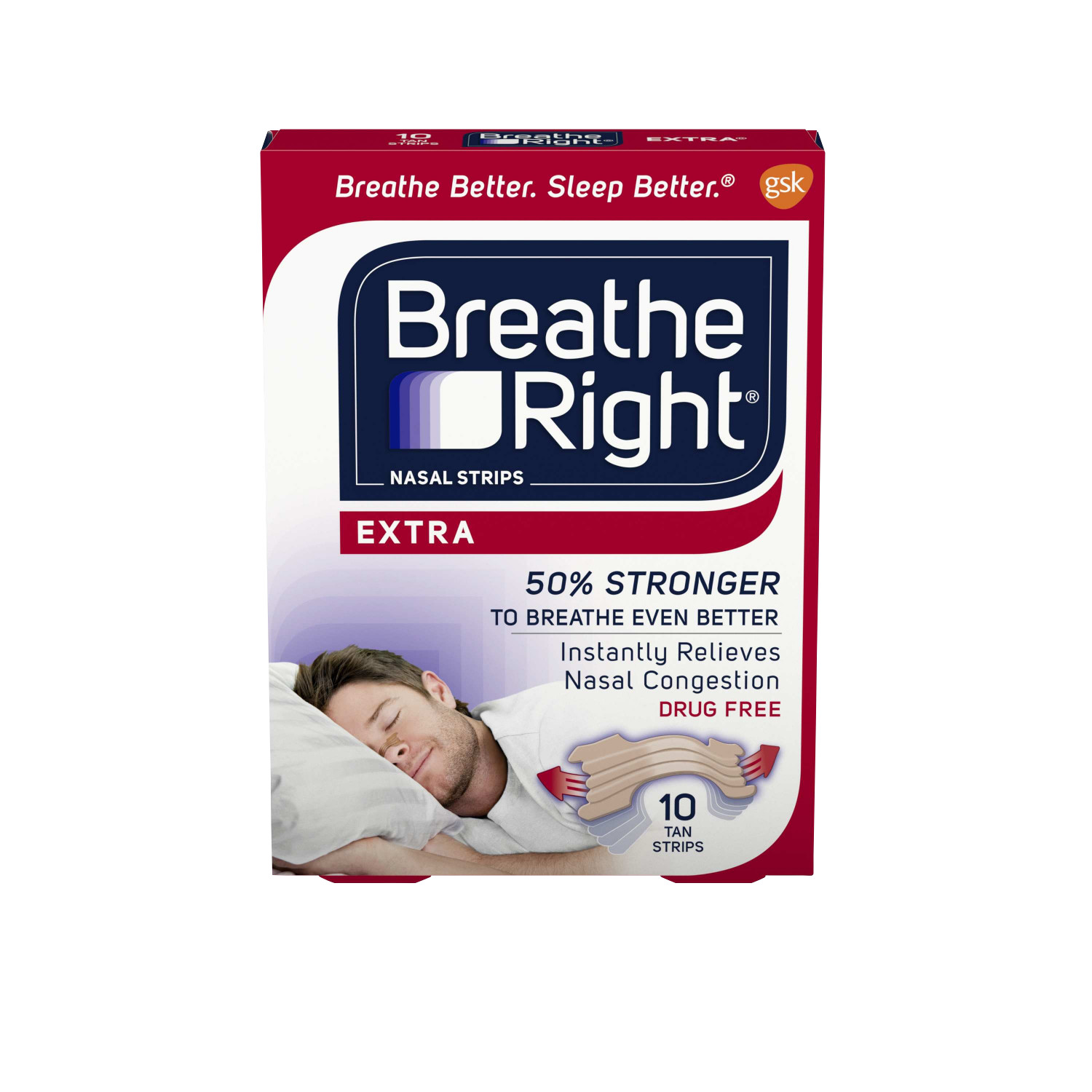 Breathe Right Extra Tan Drug-Free Nasal Strips for Nasal Congestion Relief, 10 count