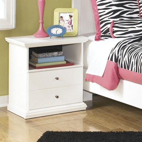 Ashley bostwick shoals 1 drawer wood nightstand in white for Meuble ashley circulaire