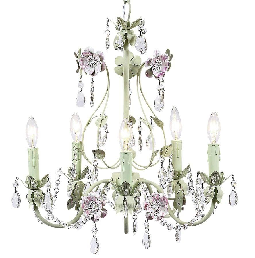 5 Arm Chandelier - Flower Garden - Pink & Green