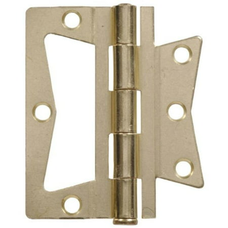 "3-1/2"" Non Mortise Hinge - Removable Pin - Brass Finish 2Pk Hillman Door Hinges"