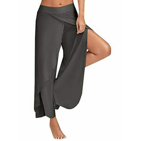 Double Layers Chiffon Pants Summer Women Split Flared Trousers